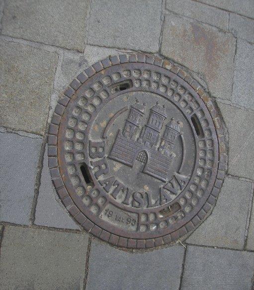 Manhole cover in Bratislava, Slovakia, Slovakia
