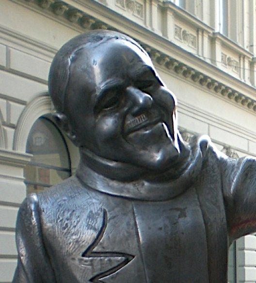 Bronze sculpture of Schoener Naci, Beautiful Naci in Bratislava, Slovakia