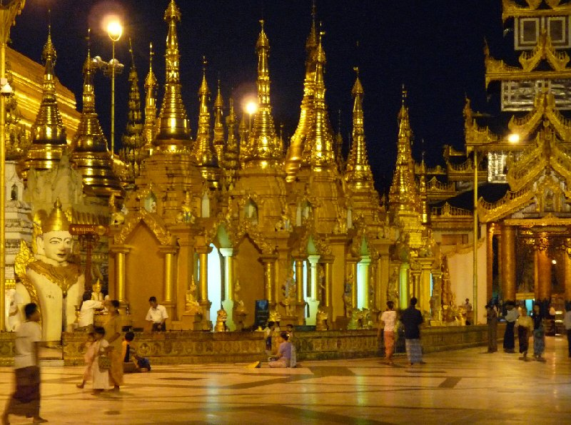 Shwedagon pagoda in Yangon by night, Myanmar