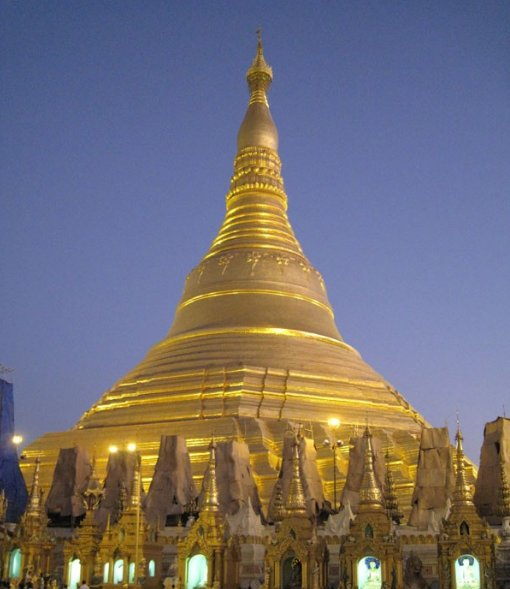 The golden stupa of the Shwedagon pagoda in Yangon, Myanmar