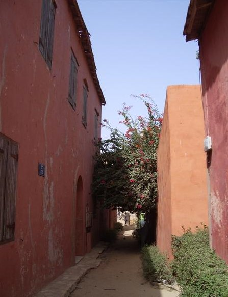 The narrow streets on Ile de Goree, Senegal