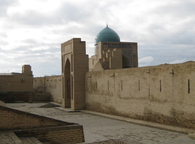 The Blue Domes and gate of the Mir-i Arab madrasah Mosque in Bukhara, Uzbekistan, Uzbekistan