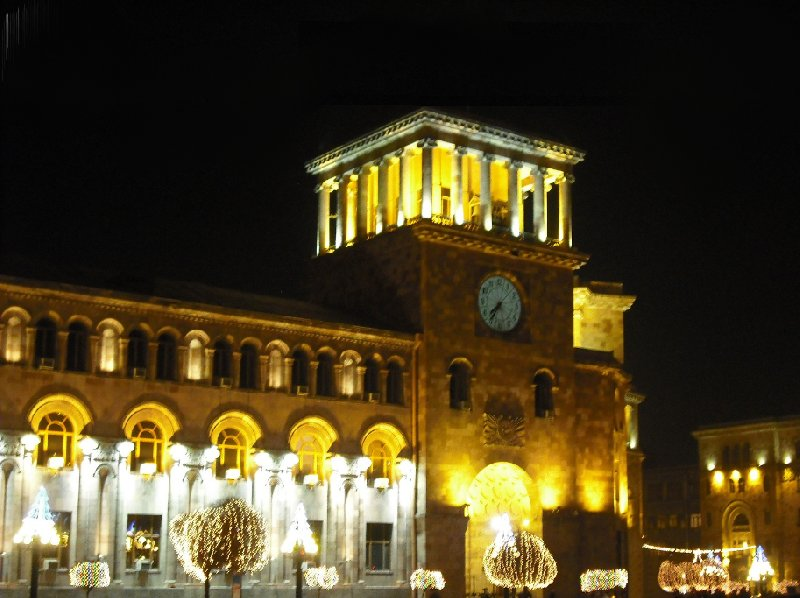 The National Gallery of Yerevan by night, Armenia