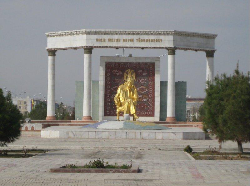 Golden statue of Turkmenbashi in Mary, Turkmenistan, Turkmenistan