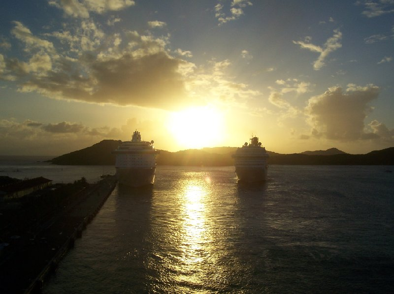 Cruise Ships arouns sunset on St Thomas, Virgin Islands, United States Virgin Islands