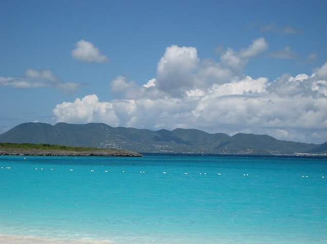 The mountains of St Martin from the beach in Anguilla, Anguilla