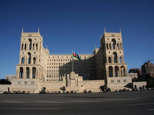 Pictures of the Azerbaijani parliament in Baku, Azerbaijan