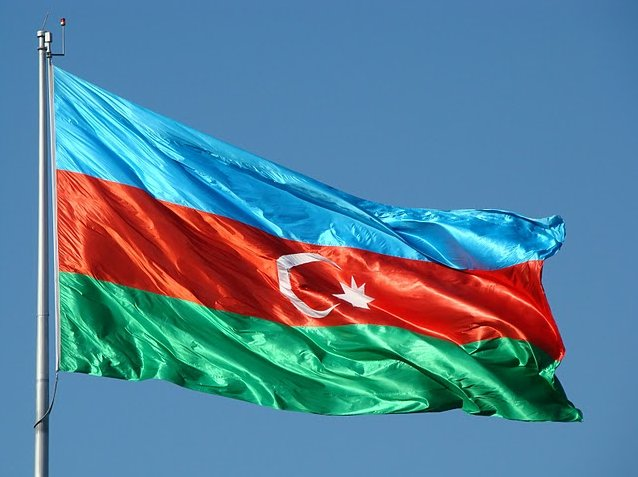 Picture of the flag of Azerbaijan , Baku Azerbaijan