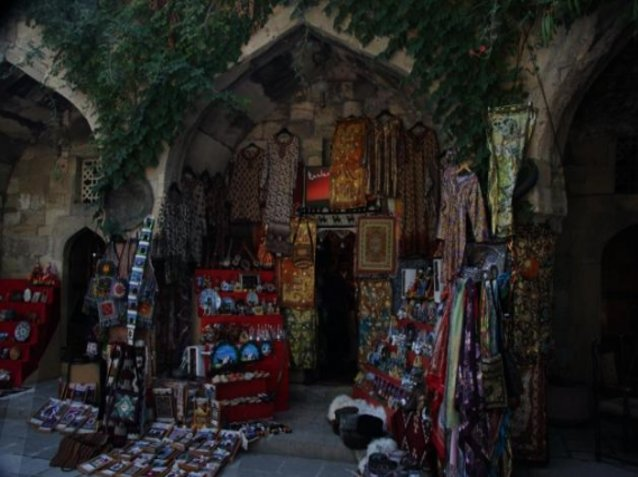 Carpet shops in Old Baku, Azerbaijan