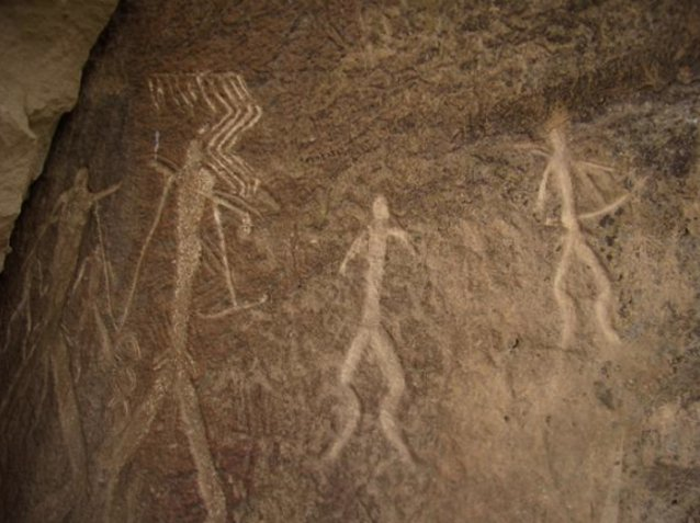 Pictures of the petroglyphs of Gobustan, Azerbaijan