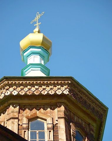The golden dome of the Holy Trinity Cathedral of Karakol, Kyrgyzstan, Karakol Kyrgyzstan