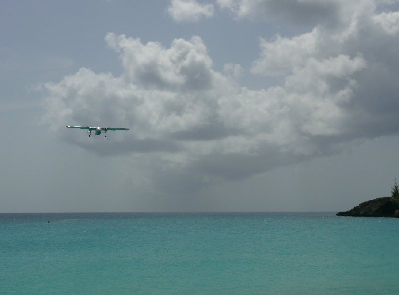 Airplane over Maho Beach, Sint Maarten, Netherlands Antilles