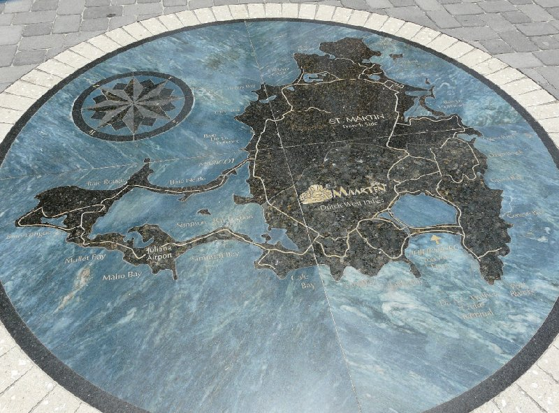 Street tile and map of Sint Maarten, Netherlands Antilles