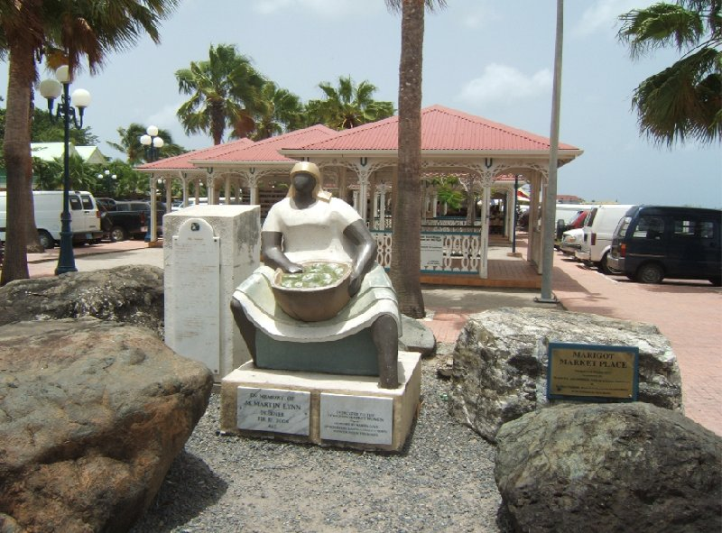 Statue of a market lady in Marigot, St Martin, Netherlands Antilles