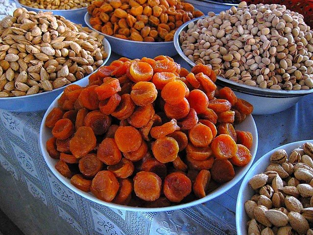 Dried fruit on the market in Dushanbe, Tajikistan, Tajikistan