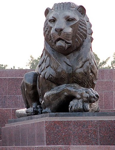 Lion sculptures at the Monument of Ismail Samani in Dushanbe, Tajikistan, Tajikistan