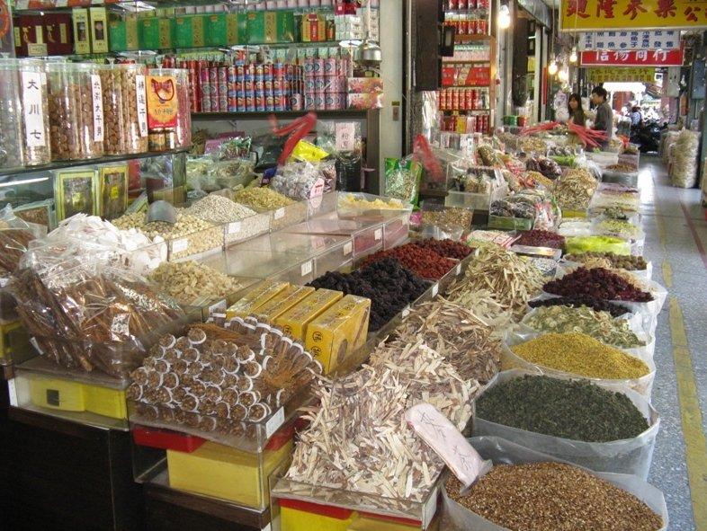 Taipei City Taiwan Market stands on Di Hua Street