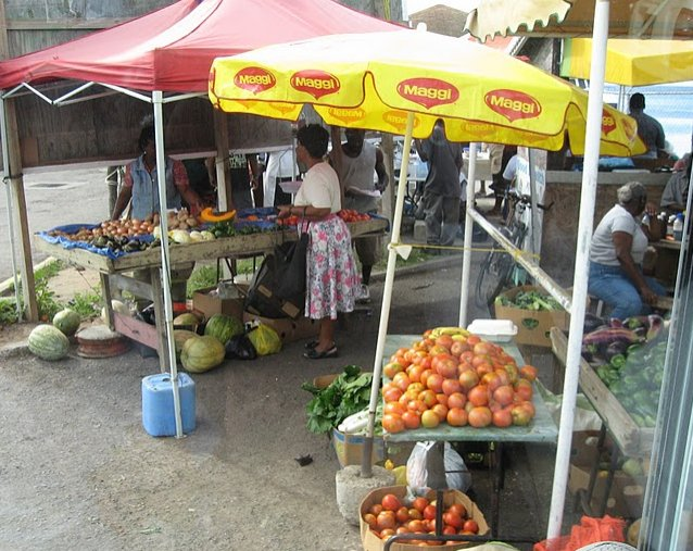 The open air market in Basseterre, Saint Kitts and Nevis, Basseterre Saint Kitts and Nevis