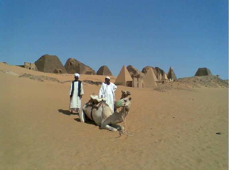 Camel ride to the Nubian pyramids in Meroe, Sudan, Sudan
