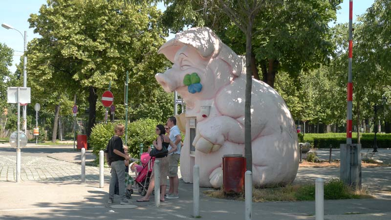 The Pig! I found it very funny: the bankomat is placed in a pig :-), Austria