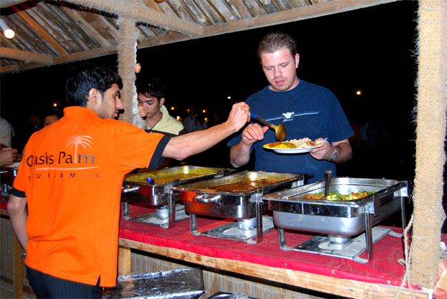 Dubai United Arab Emirates food at evening safari in dubai