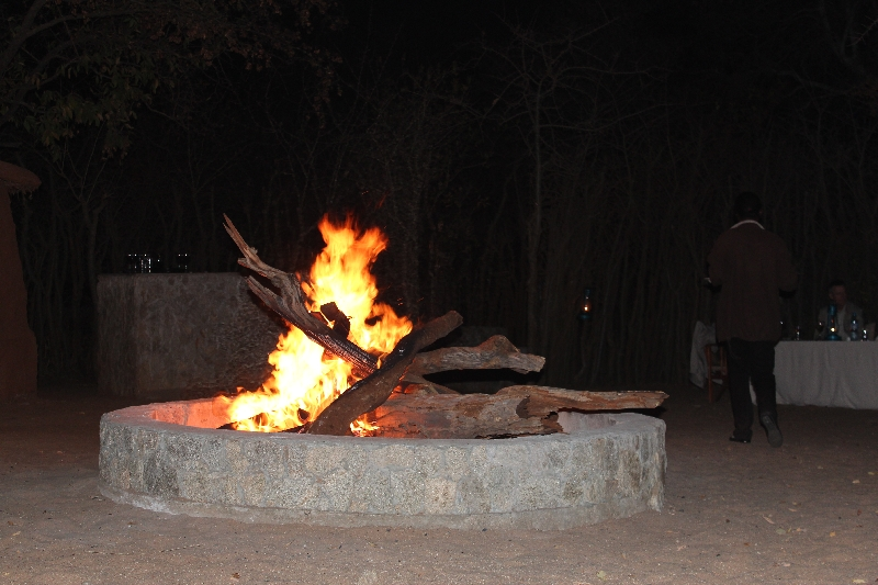 Camp fire at the boma of Treetops, Manyara Tanzania