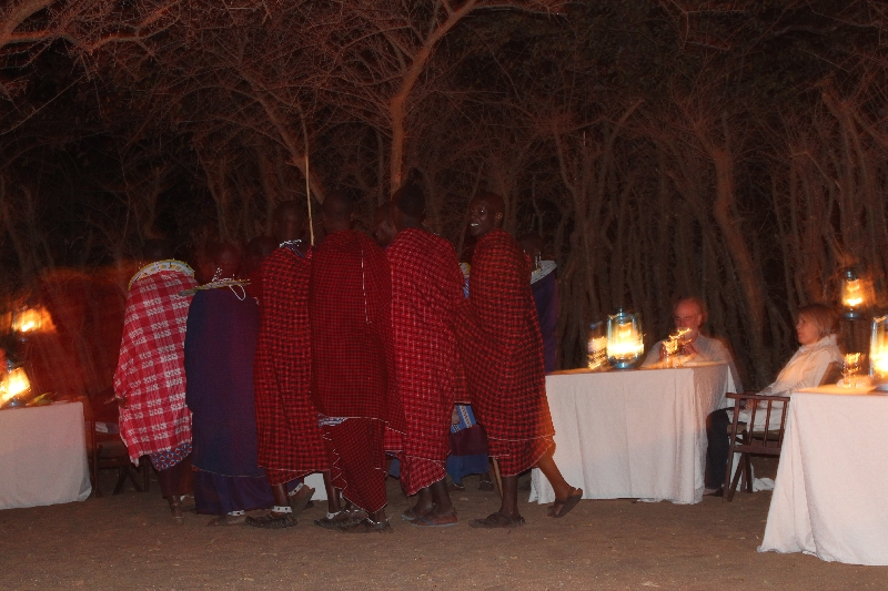Masai Singing at Treetops Dinner, Tanzania