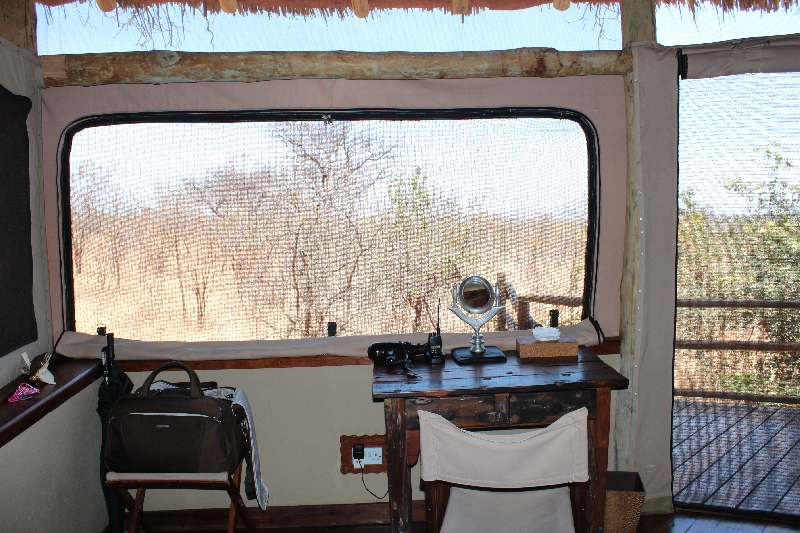 Desk looking out over Tarangire outskirts, Manyara Tanzania