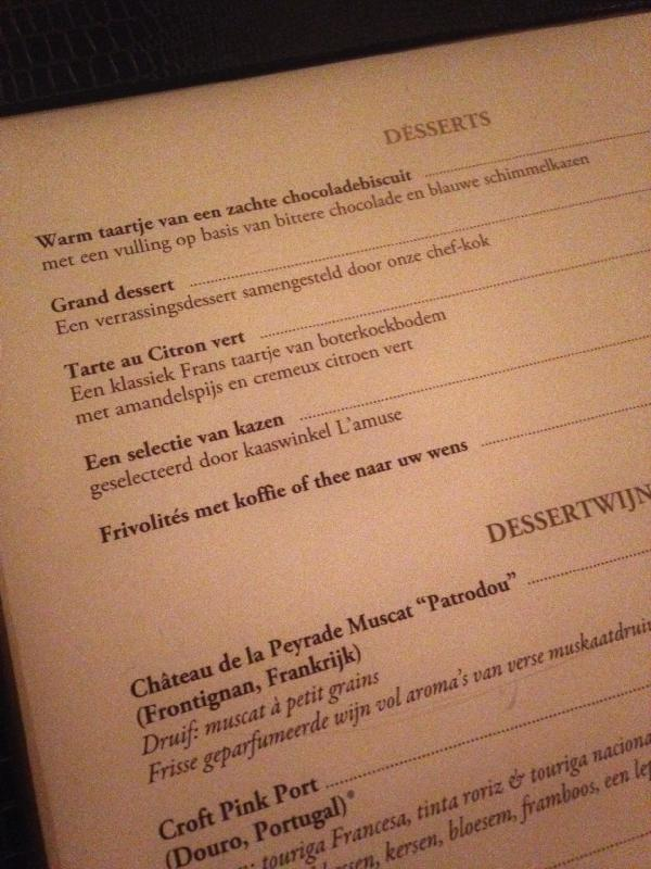 The Dessert Menu at Red Amsterdam, Amsterdam Netherlands