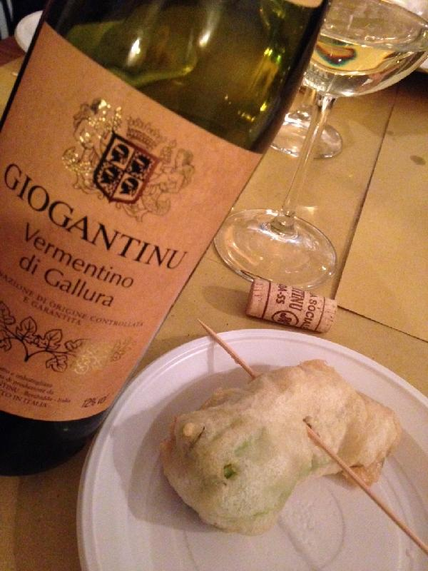 Vermentino Wine and Zucchini Flowers, Rome Italy