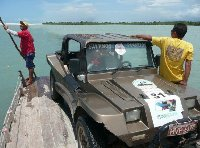 Pictures on the car ferry in 	Jericoacoara