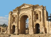 The ancient Arch of Hadrian in Jerash
