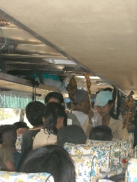Crowded Cambodian bus