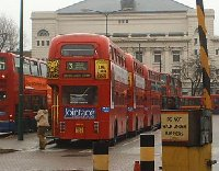 The double decker buses in London