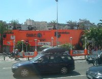 Driving through Lloret de Mar.