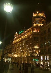 Photos of Barcelona at night.