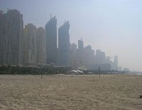 Skyscrapers from the beach, the skyline of Dubai.