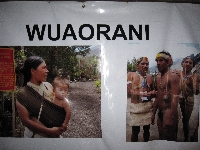 Photos of the Wuaorani people at the Museo Inti Nan in Ecuador