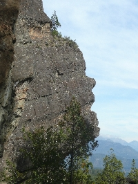 The Indian Head rock sculptures near the Azul River valley viewpoint