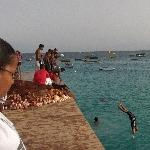 Kids jumping from the pier, Santa Maria Cape Verde