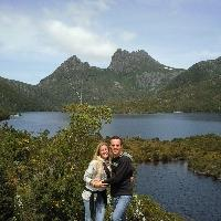 On the rock in front of Cradle Mountain