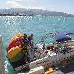 Airlie Beach Australia Speedboat for the parasailing trip.