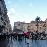 Rome Italy Umbrella crowd on Piazza di Spagna