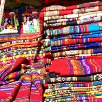 Fabrics at the market in Pisac