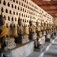 Numerous Buddhist statues in Vientiane