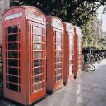 London United Kingdom Classical red telephone booths in London.