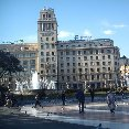 Barcelona Spain Plaza Catalunya in Barcelona, Spain.