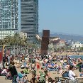 The beach of Barcelona in April.