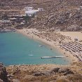 Mykonos Greece Looking down on Super Paradise beach.
