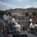 Prague Czech Republic Street musicians on Charles Bridge in Prague.